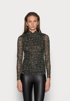 CROSS NECK TOP - Bluzka z długim rękawem - black