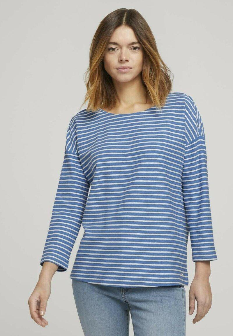 TOM TAILOR DENIM - Long sleeved top - mid blue melange white stripe