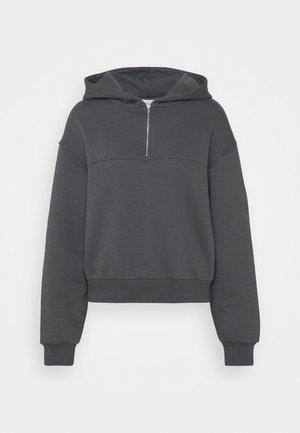ELASTICATED HEM HALF ZIP HOODIE - Sweatshirt - dark grey