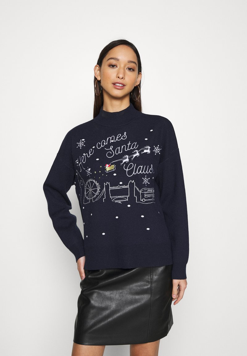 Fashion Union - CHRISTMAS HERE COMES SANTA CLAUS - Jumper - navy