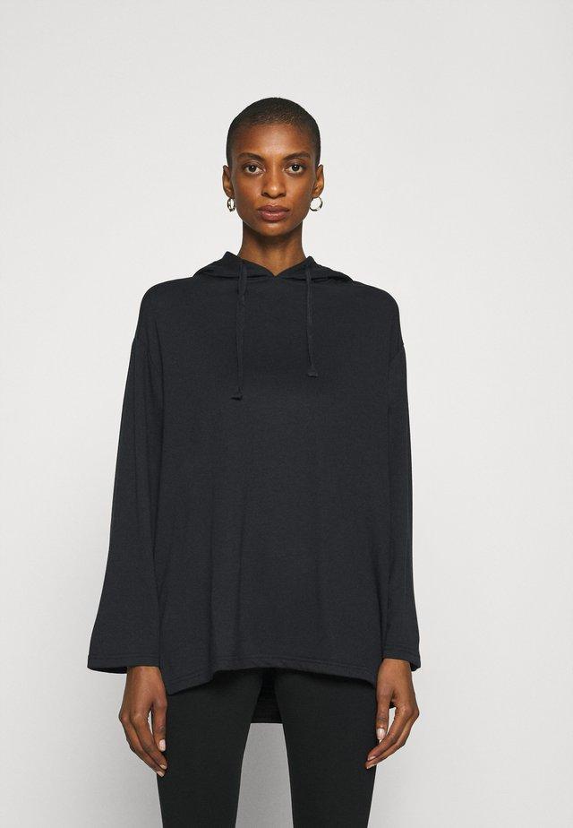 Wide Sleeve Long Hoodie - Hoodie - black