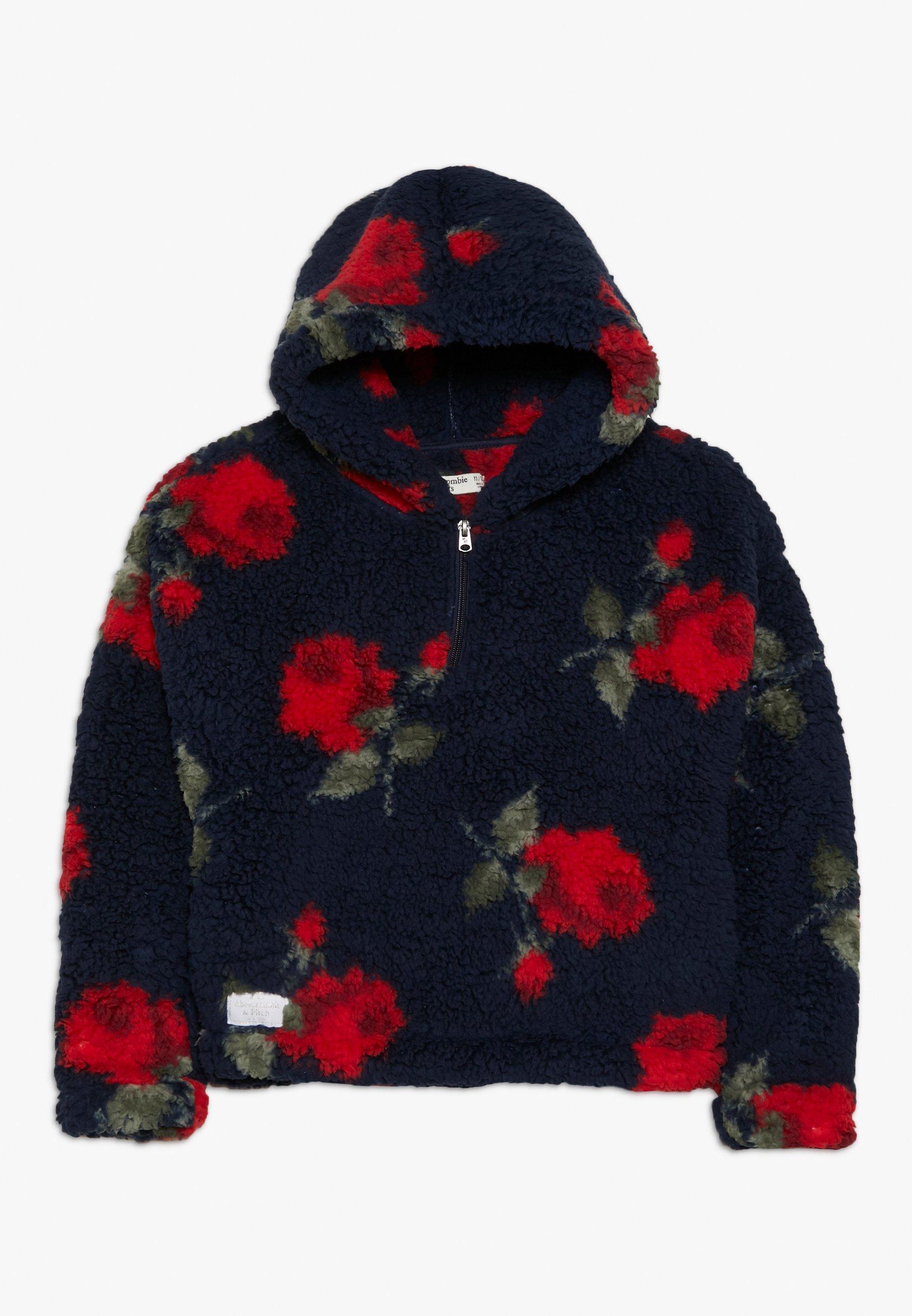 Große Förderung Abercrombie & Fitch FLORAL COZY ZIP HOOD - Kapuzenpullover - navy | Damenbekleidung 2020