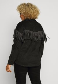 Simply Be - LONGLINE FRINGE SHACKET - Faux leather jacket - black - 2