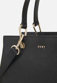 DKNY - VIVIAN DOUBLE FLAP SHOULDER - Handbag - black/gold-coloured - 4