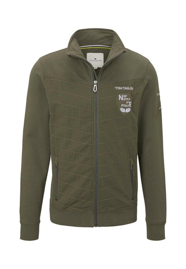 STRICK & SWEATSHIRTS SWEATJACKE MIT STEHKRAGEN - Zip-up hoodie - olive night green