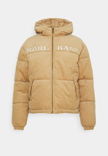RETRO HOODED PUFFER JACKET - Winter jacket - sand