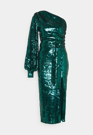 PARTY SEQUIN TIE FRONT BALLOON SLEEVE DRESS - Koktejlové šaty / šaty na párty - teal