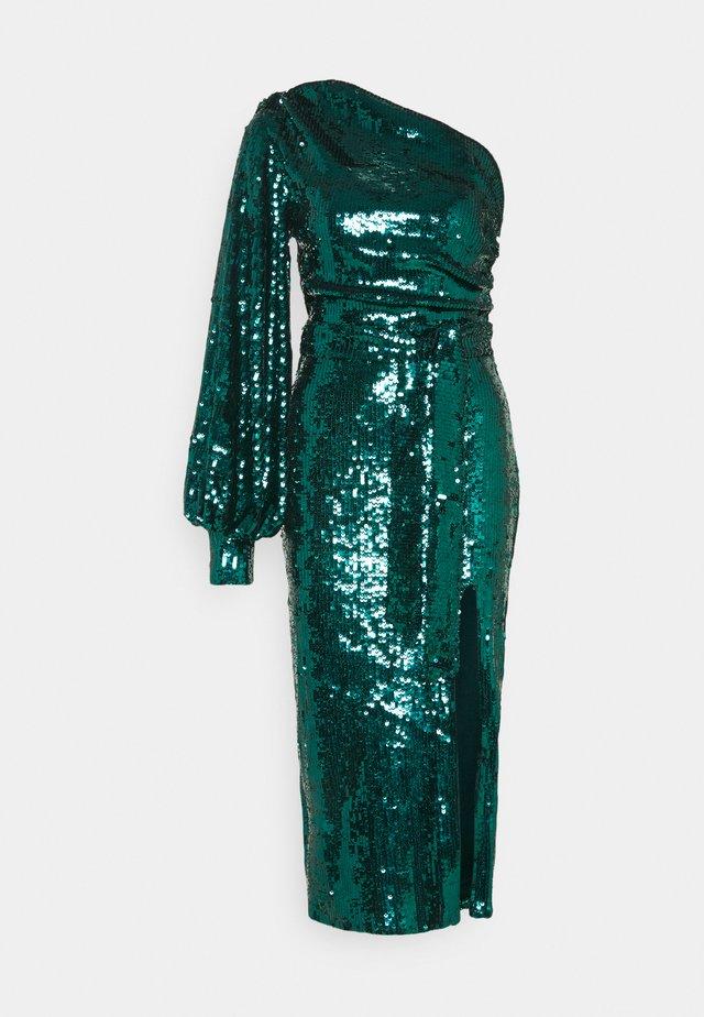 PARTY SEQUIN TIE FRONT BALLOON SLEEVE DRESS - Vestito elegante - teal