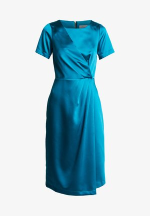 SHORT SLEEVE WRAP OVER DRESS - Robe de soirée - teal
