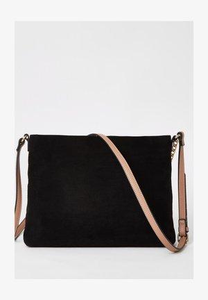 BLACK RI ZIP FRONT CROSS BODY MESSENGER BAG - Across body bag - black