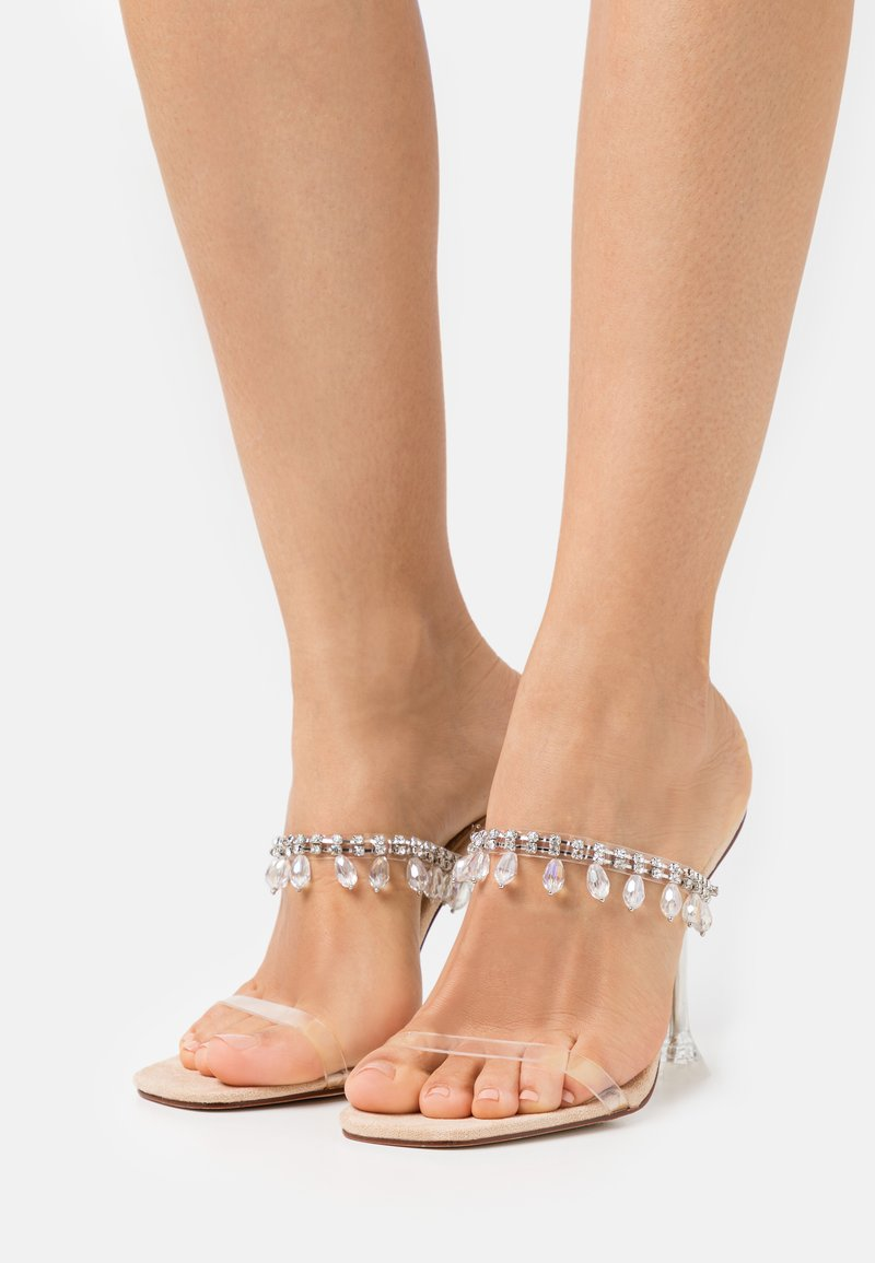 BEBO - MADEIRA - Heeled mules - clear/nude