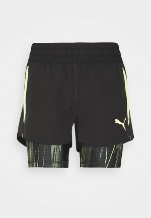 INDIVIDUAL CUP SHORTS - Sports shorts - puma black/asphalt/soft fluo yellow