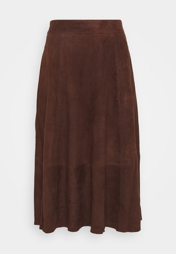 OBJSALLY SKIRT - Leather skirt - chicory coffee