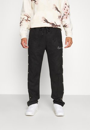 SUEDE BUTTON PANTS UNISEX - Kalhoty - black
