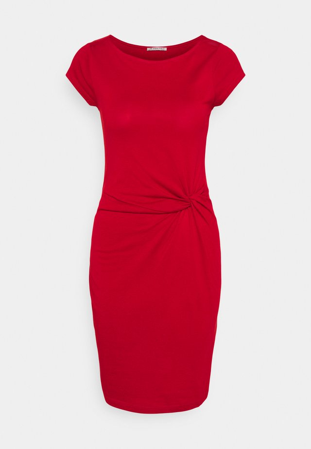Short sleeves mini dress with knot at waist - Jersey dress - red