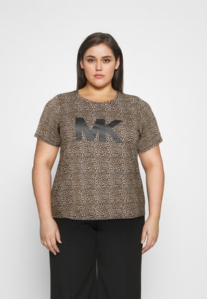 LEOPARD LOGO TEE - Print T-shirt - dark camel
