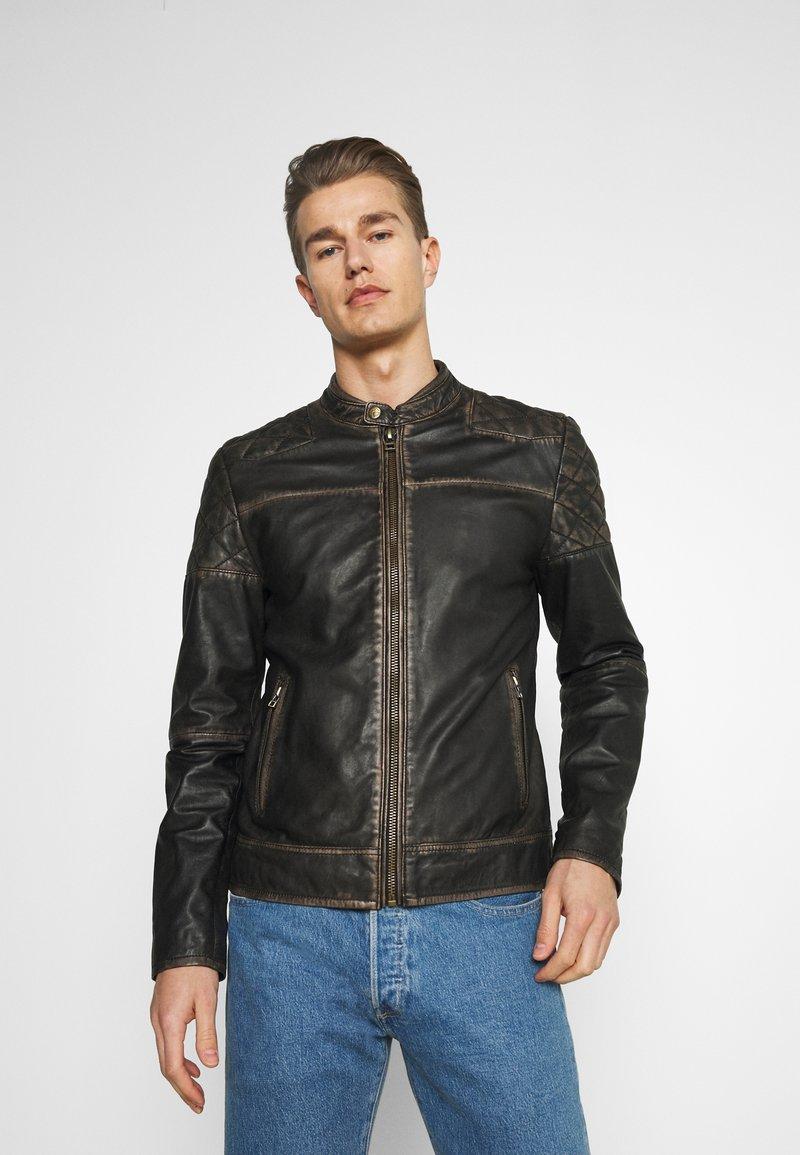 Goosecraft - BRENTWOOD BIKER - Kožená bunda - black