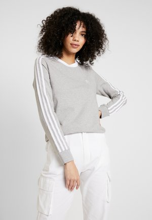 Long sleeved top - medium grey heather/white