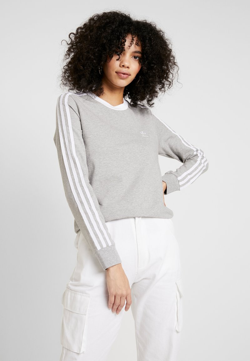 adidas Originals - Long sleeved top - medium grey heather/white