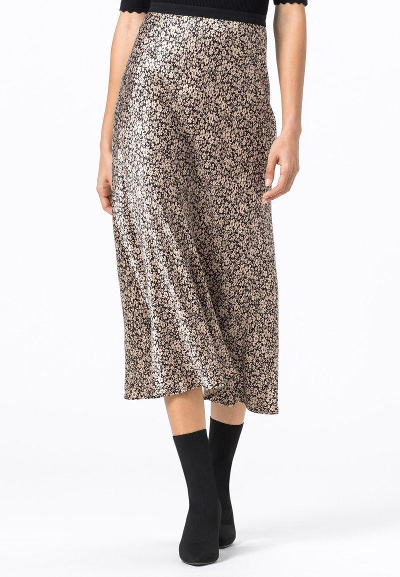 HALLHUBER - MIT MILLEFLEURS-PRINT - A-line skirt - schwarz