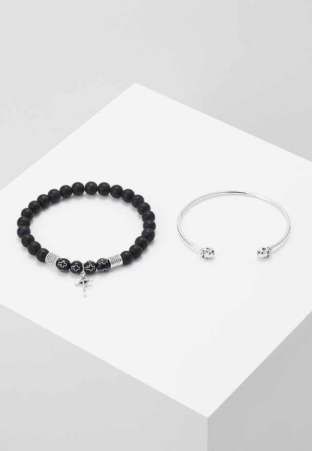 CROSS AND SKULL BRACELET SET - Pulsera - silver-coloured/black