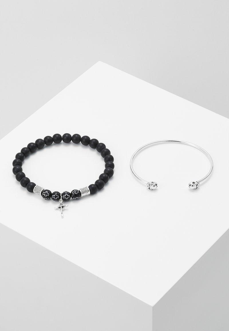 Topman - CROSS AND SKULL BRACELET SET - Bracelet - silver-coloured/black