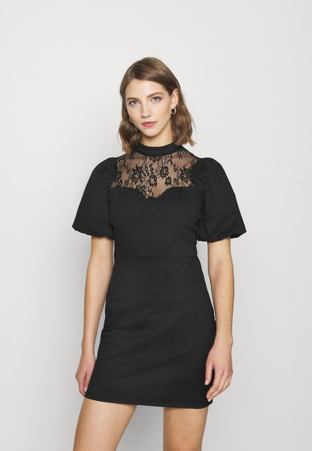 INSERT MINI DRESS WITH PUFF SHORT SLEEVES AND HIGH NECK - Juhlamekko - black