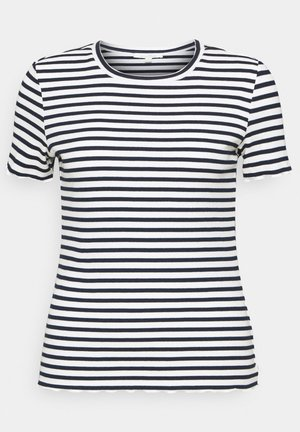 TEE WITH FRILLED EDGES - Triko s potiskem - navy/white