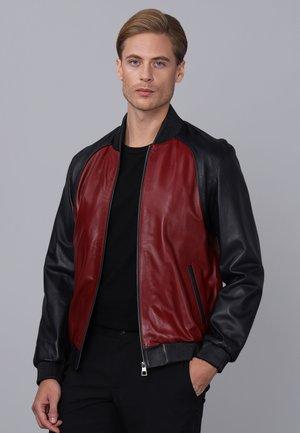 Leather jacket - navy/bordeaux