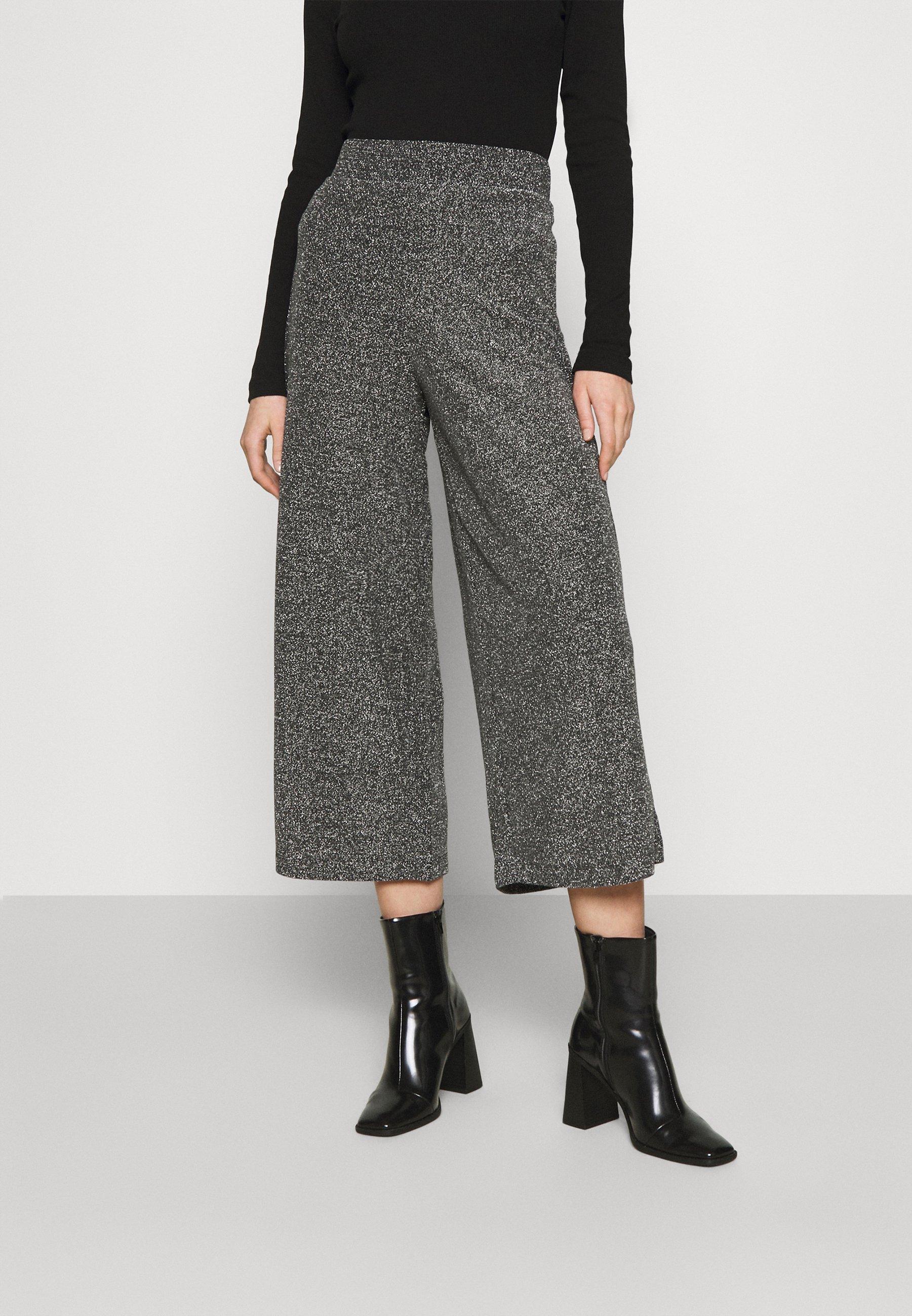 Femme CILLA PARTY TROUSERS - Pantalon classique - black/silver