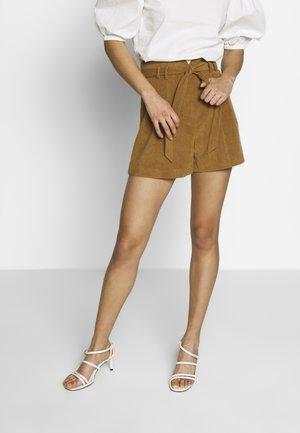 SUEDETTE TIE SHORT - Shorts - tan