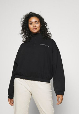 PLUS VERTICAL LOGO HALF ZIP - Sweatshirts - black