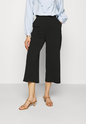 Wide leg cropped trousers - Pantalones - black