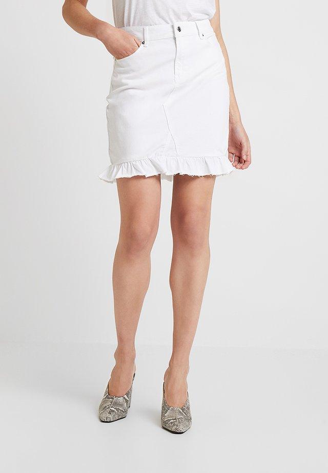 ALEXA FRILL SKIRT DISTRESSED - Denim skirt - white