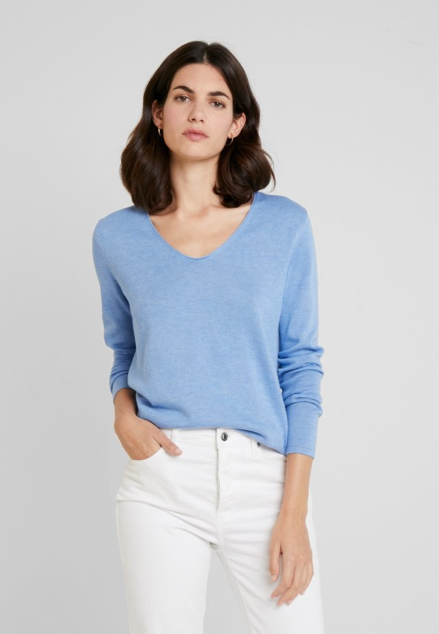 BASIC V NECK - Pullover - sea blue melange