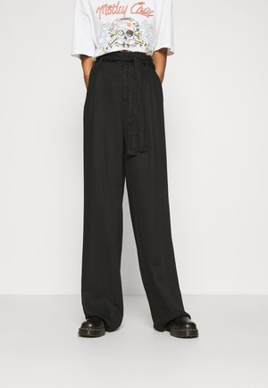 VMNEVE XHR PAPERBAG WIDE PANTS - Trousers - black