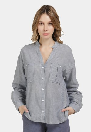 HEMDBLUSE - Button-down blouse - marine gestreift