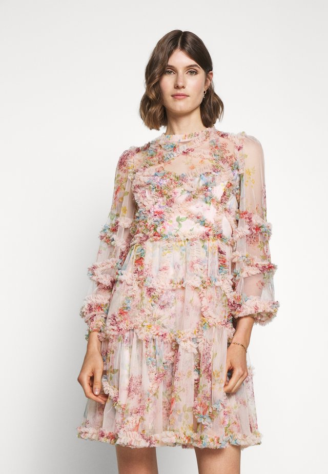 FLORAL DIAMOND RUFFLE DRESS - Cocktailjurk - topaz pink