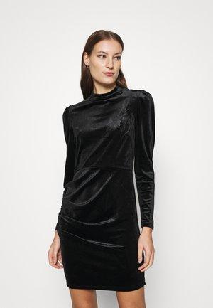 HIGH NECK VELVET DRESS - Shift dress - black