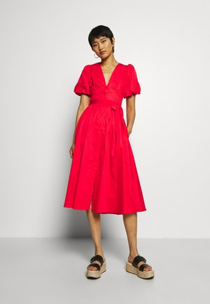 PUFF SLEEVE MIDI - Robe chemise - siren red