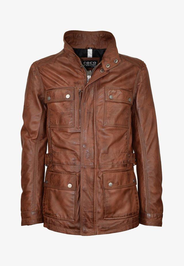TROOPER - Leather jacket - mokka braun