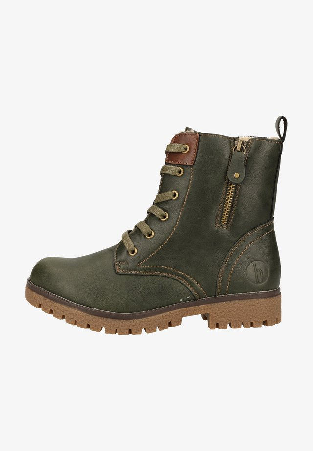 Bottines à lacets - olive