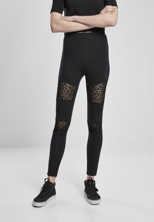 FLOCK LACE INSET - Leggings - Trousers - black