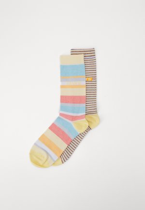 REGULAR CUT MICRO STRIPE 2 PACK - Socken - orange/blue/white