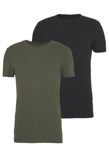 2 PACK - Basic T-shirt - oliv/black