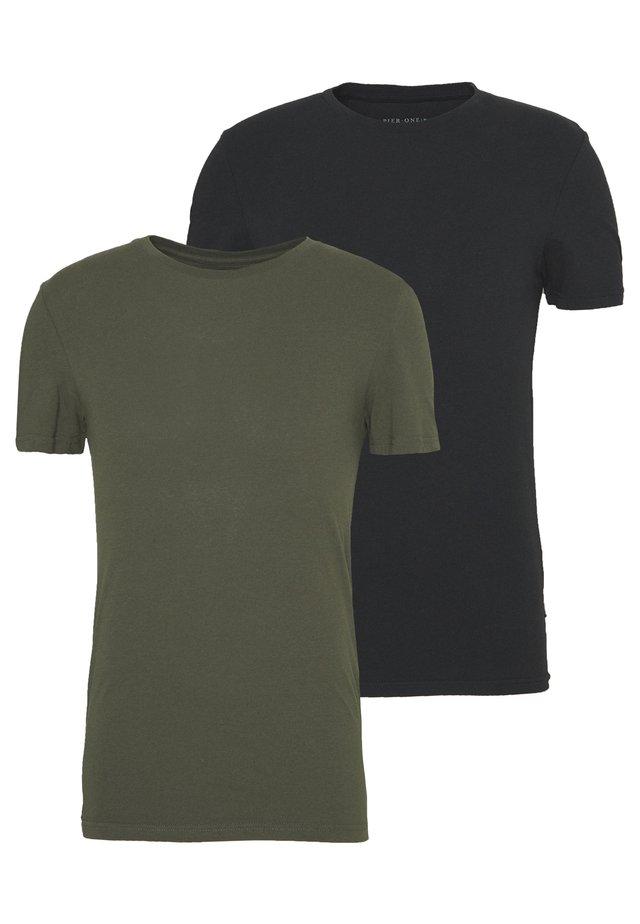 2 PACK - T-shirt basic - oliv/black