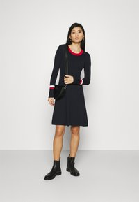 Tommy Hilfiger - WARM FIT & FLARE DRESS - Jumper dress - desert sky