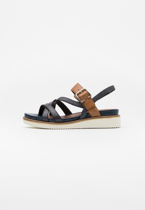 Platform sandals - navy/cognac