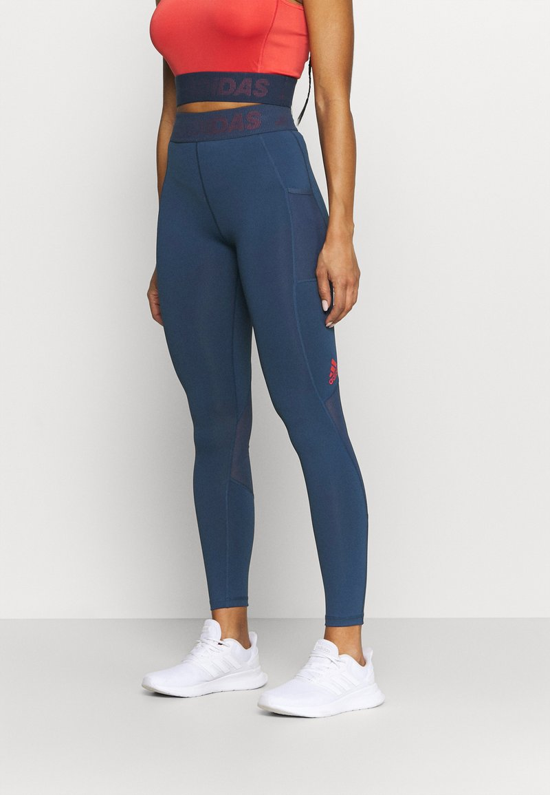 adidas Performance - Leggings - navy/red