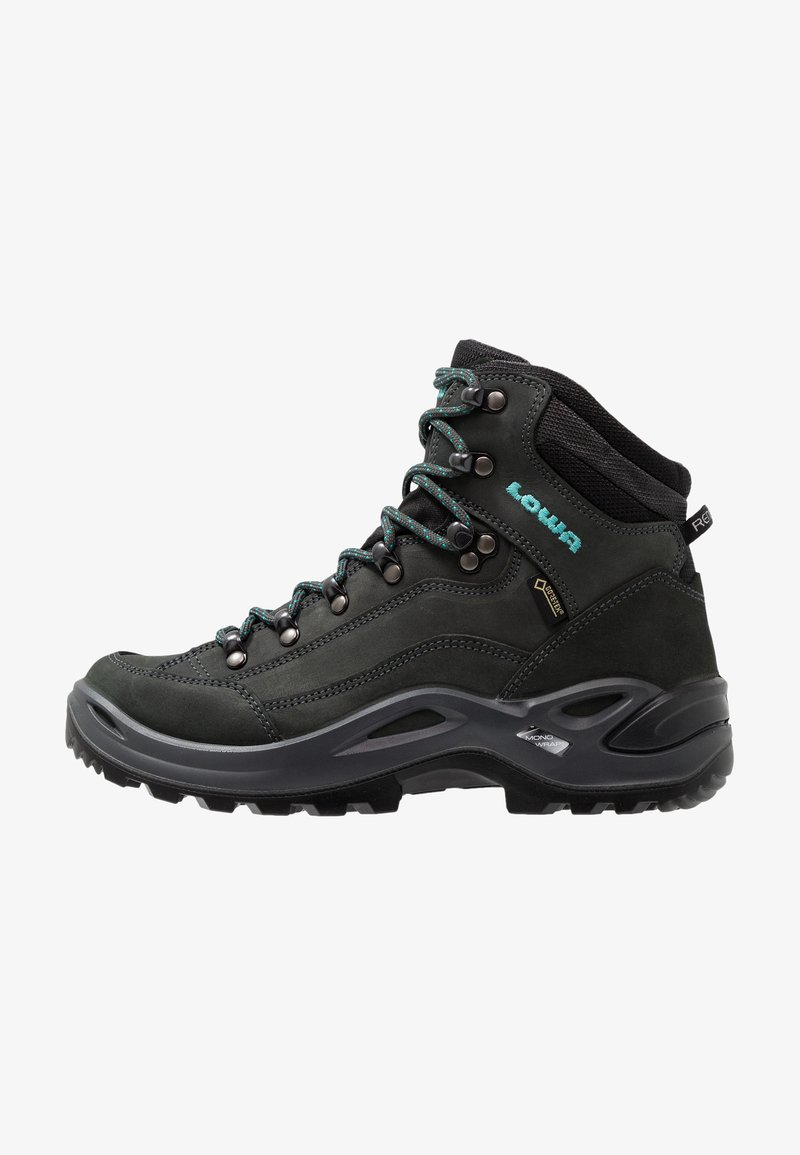 Lowa - RENEGADE GTX MID - Hiking shoes - asphalt/türkis
